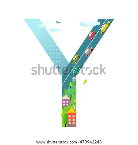 kids letter y sign cartoon