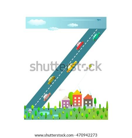 kids letter z sign cartoon