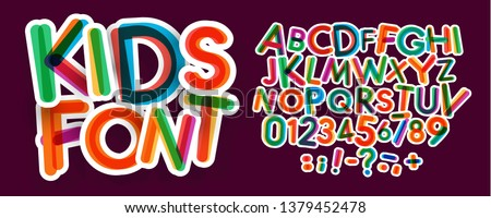 Kids letters and numbers set. Bold, colorful vector latin alphabet. Fonts for kids zone, promotions, logos, banner, kindergarten decoration. Typography design.