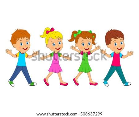 kids,little boys and girls go,illustration,vector