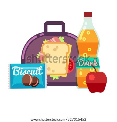 Kids lunch box, bag with snacks, meal and beverages vector stock.