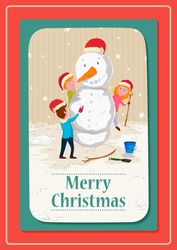 Kids making Snowman with Santa cap for Merry Christmas celebration in vector