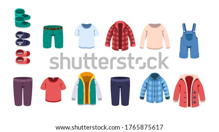 Kids male casual summer, autumn & winter clothes, shoes set. Boy shirts, sweater, shorts, overall, hoodie, jacket, coat & boots. Children Garment fashion & clothing flat vector illustration collection ストックフォト ©