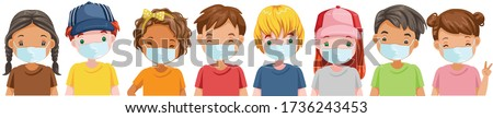Kids mask set. Little boy and little girl wear face mask protect virus.  Protect dust PM 2.5. Social distancing concept. Vector cartoon characters and illustrations isolated on white background.
