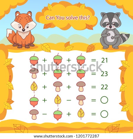 Kids mathematical count game. Matching task with a fox and a raccoon. Can You solve this? Children funny riddle entertainment. Find right answer. Mathematics vector activity page and game.