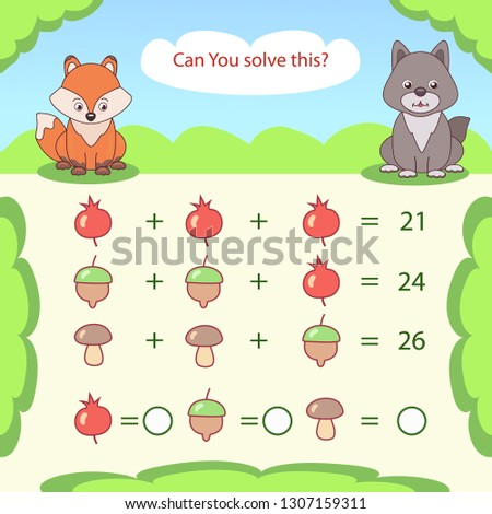 Kids mathematical count game. Matching task with cute fox and wolf. Can You solve this? Children funny riddle exercise. Find right answer. Mathematics vector activity page and game.