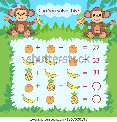 Kids mathematical count game. Matching task with cute monkeys. Can You solve this? Children funny riddle entertainment. Find right answer. Mathematics vector activity page and game.