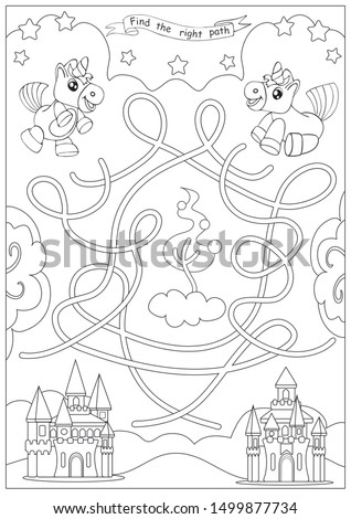 Kids maze coloring page. Children labyrinth kids game with cute unicorns. Activity page. Find the right path. Funny riddle. Education worksheet. Vector illustration.