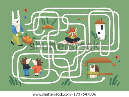 Kids maze game with cute animals in nature. Childish labyrinth puzzle with paths. Logical quest for children's learning and entertainment. Colored flat vector illustration of map with roads Stock photo ©