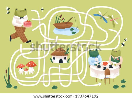 Kids maze game with cute frogs in nature. Childish labyrinth puzzle with paths. Logical quest for children in preschool and kindergarten. Colored flat vector illustration of map with roads Сток-фото ©