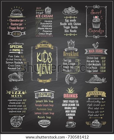 Kids menu chalkboard designs set. Ice cream, desserts, soups, breakfast, pizza menu, main dishes. Hand drawn vector illustration.