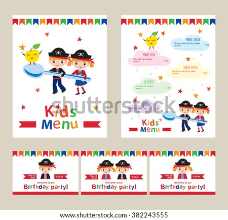 Kids Menu For A Pirate Birthday Party Invitation To Childrens