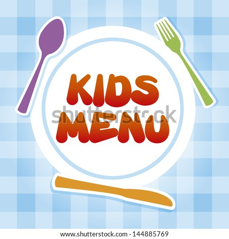 kids menu over tablecloth background vector illustration