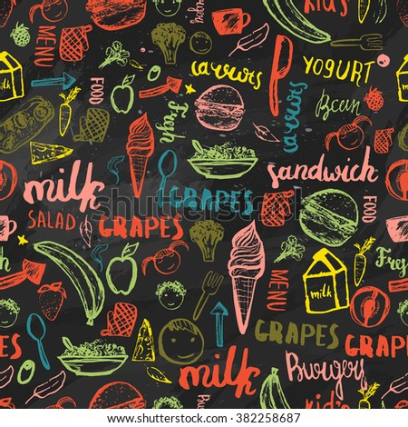 Kids menu seamless pattern. Creative design for wrapping, banners. Template on dark background. #382258687