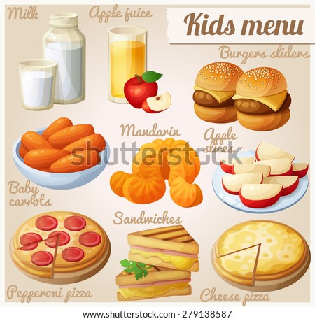 Kids menu Set of cartoon vector food icons Milk apple juice burger sliders baby carrots mandarin oranges apple slices pepperoni and cheese pizza grilled sandwich bites