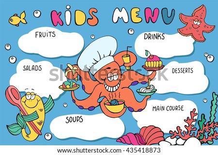 Kids menu templates download free vector art stock graphics kids menu template funny cartoon sea creatures octopus starfish fish colorful pronofoot35fo Gallery