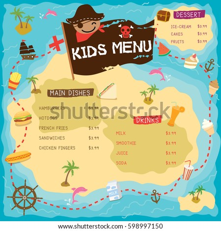 kids menu with pirate map