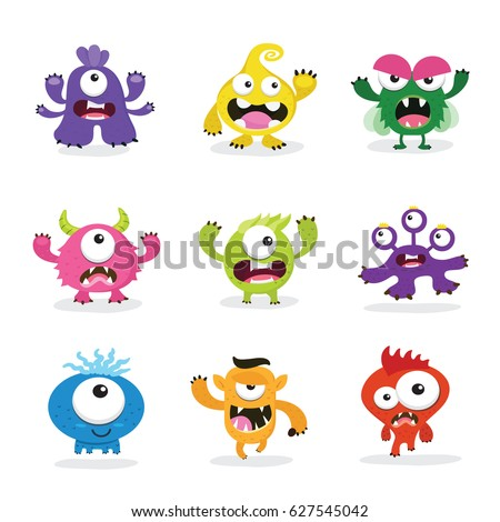 kids monster logo collection