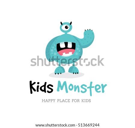 kids monster logo template