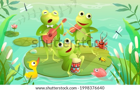 Kids music festival on a lake or pond with frogs playing musical instruments and singing. Funny animals music show on a swamp. Vector swamp scenery illustration for children in watercolor style.