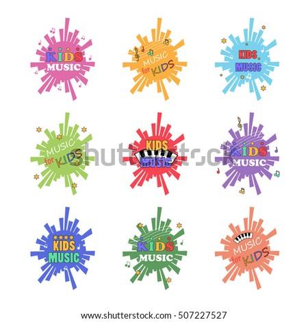 Kids Music Logo Set - Vector Illustration, Graphic Design. For Web, Websites, App, Print, Presentation Templates, Mobile Applications, Promotional Materials