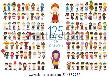Shutterstock Kids of the World Vector Characters Collection: Set of 125 children of different nationalities in cartoon style.