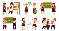 Kids on lessons. School girl on lesson, science children characters. Cartoon child study, collaboration in education. Students decent vector concept