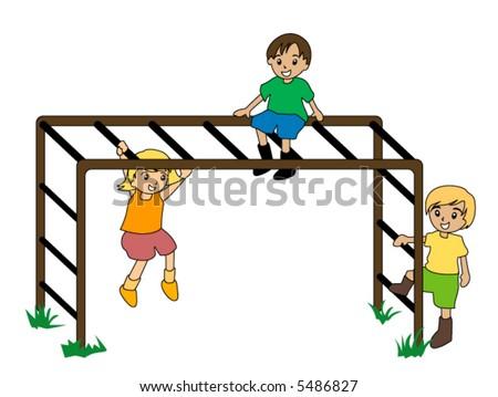 Kids on Monkey Bar - Vector