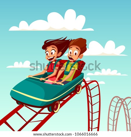 Kids on rollercoaster rides vector illustration. Boy and girl riding fast on Russian mountains amusement rides, happy laughing or excited scared with open mouth on amusement park background