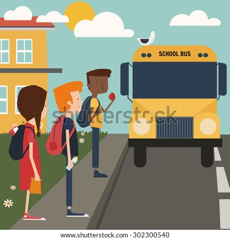 kids on school bus at their way