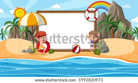 Kids on vacation at the beach daytime scene with an empty banner template illustration