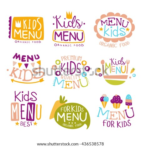 Kids Organic Food Hand Drawn Banner Set Of Artistic Decorative Vector Design Writing