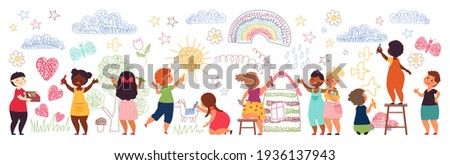 Kids painting on wall. Cute preschool girl, children with crayons draw picture. Drawing characters, school imagination activities decent vector set