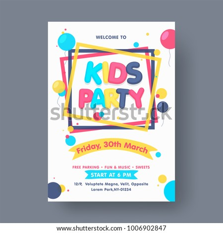 kids party flyer or banner
