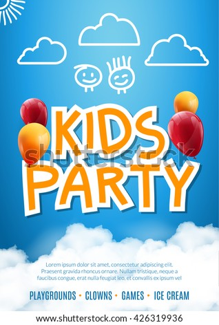 kids party invitation balloon
