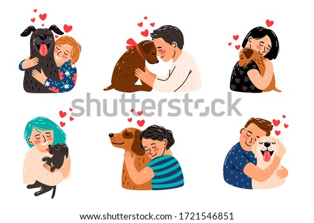 Kids petting dogs. Children hugging dog pets vector illustration, happy girls and smiling boys with puppies image, domestic licking animals and playing owners best friends