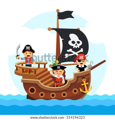 kids pirate ship sailing in the