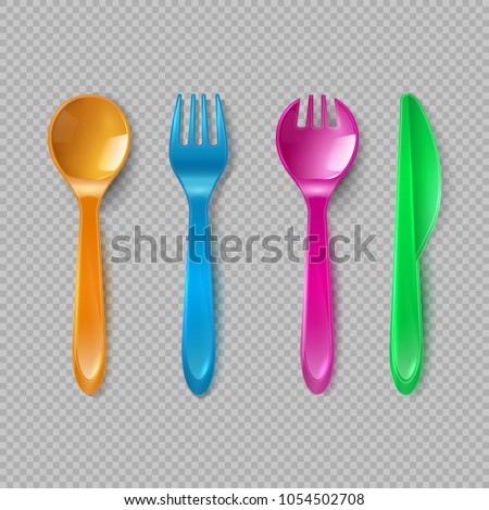 Kids plastic cutlery. Little spoon, fork and knife isolated. Disposable dishware, toy kitchen dining tools vector set. Illustration of knife and plastic fork, spoon, color dining cutlery tool