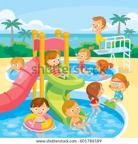 Kids play and swim in aqua park