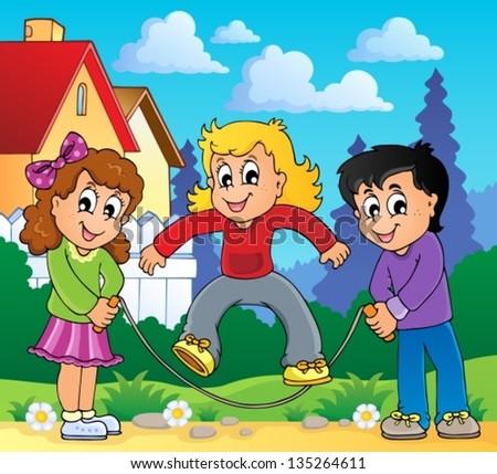 Kids play theme image 2 - eps10 vector illustration. - stock vector