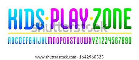 Kids playful font, trendy colorful alphabet, Latin letters (A, B, C, D, E, F, G, H, I, J, K, L, M, N, O, P, Q, R, S, T, U, V, W, X, Y, Z) and Arabic numerals (0, 1, 2, 3, 4, 5, 6, 7, 8, 9) Stock fotó ©