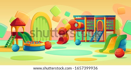Kids playground in play park with spiral tube slide, houses and ball pool. Vector cartoon empty interior of amusement center, daycare or kindergarten for kids
