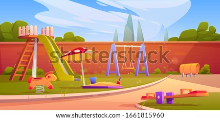 Kids playground in summer park, garden or backyard with slide, sandbox and swing. Vector cartoon illustration of kindergarten play ground, seesaw, slider, sandpit on green lawn