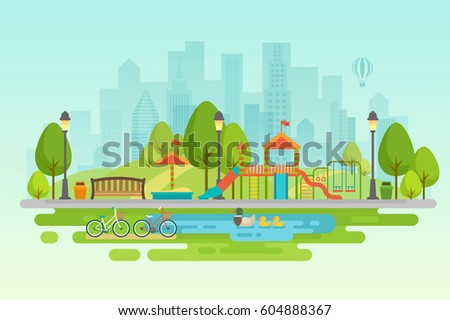 Kids playground with playing equipment, City park with outdoor decor. - Shutterstock ID 604888367