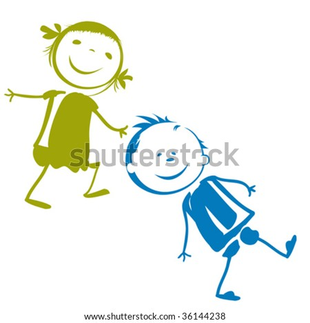 kids playing - stock vector