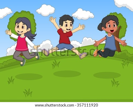Kids playing at th park jumping and laughing cartoon vector illustration