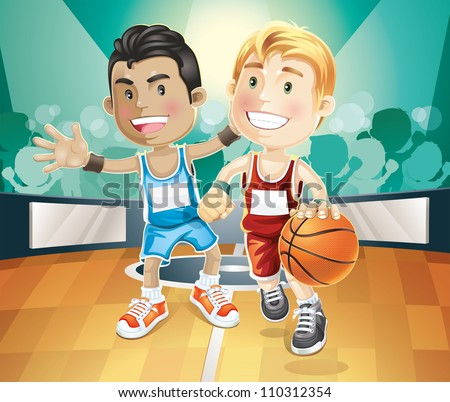 Kids playing basketball on indoor court. vector illustration cartoon character.