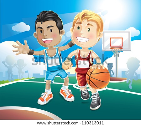 Kids playing basketball on outdoor court. vector illustration cartoon character.