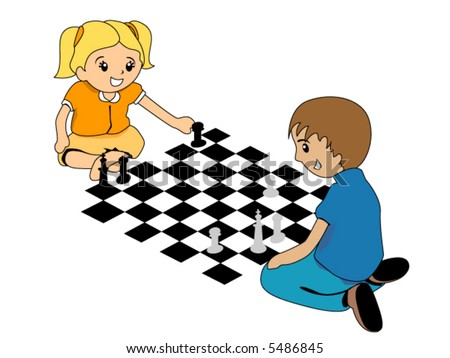 Kids playing chess vector