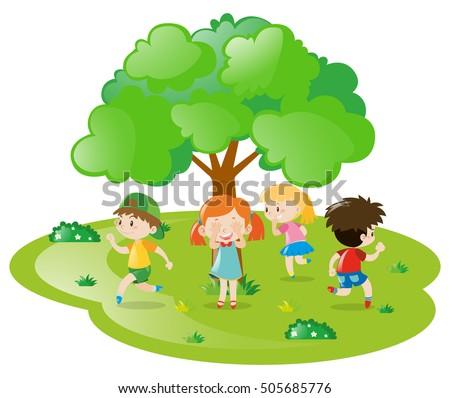kids playing hide and seek in